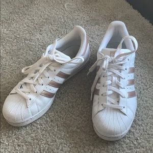 Adidas Rose Gold Superstar sneakers!
